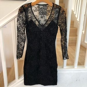 Express black lace sheer back arms lbd 0